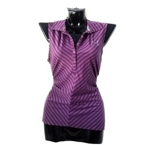 PUMA Purple Stripe Polo Golf Sleeveless Top